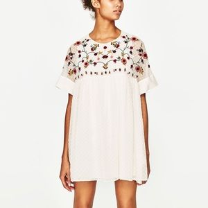 Zara white embroidered babydoll dress